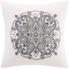 Madison Park Cotton Velvet Medallion Embroidered Throw Pillow (White) ($48) ❤ liked on Polyvore featuring home, home decor, throw pillows, white, floral throw pillows, cotton throw pillows, velvet throw pillows, white accent pillows and floral home decor