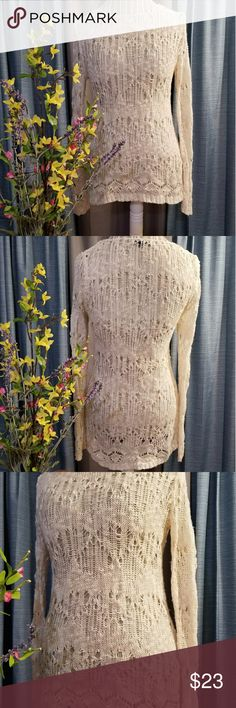 🌻🌺🌻KARMA BLUE KNIT CREAM SWEATER!! SIZE:small   BRAND:Karma Blue   CONDITION:very good, Has one thread that's loose, seen in last photo   COLOR:cream  Very pretty sweater   🌟POSH AMBASSADOR, BUY WITH CONFIDENCE!   🌟CHECK OUT MY OTHER ITEMS TO BUNDLE AND SAVE ON SHIPPING!   🌟OFFERS WELCOME!   🌟FAST SHIPPING! karma blue Sweaters