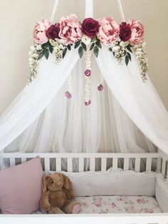 Floral crib canopy Floral Teepee Floral nursery Floral crib mobile Floral tent Roses and peonies Han Rose Nursery, Chic Nursery, Nursery Room, Girl Nursery, Nursery Ideas, Floral Nursery, Bohemian Nursery, Nursery Decor, Rustic Nursery