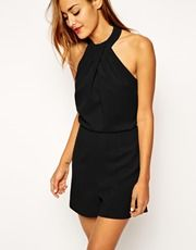 ASOS Playsuit with Twist Neck Detail