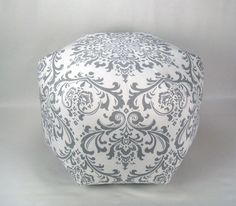 "24"" Floor Ottoman Pouf Storm Gray & White - Damask Contemporary Modern Print"