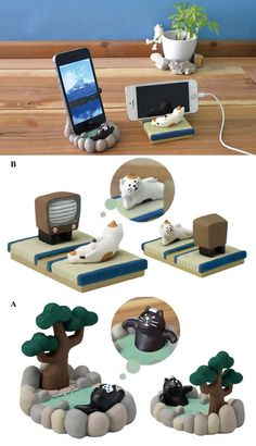 Cute Cat SPA Desk Business Card Holder Cell Phone Holder