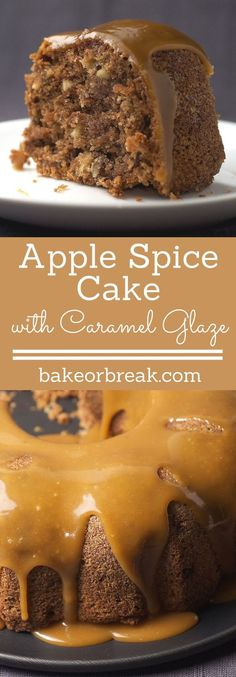 Apple Spice Cake is a delicious blend of fresh apples and spices topped with a rich caramel glaze. - Bake or Break