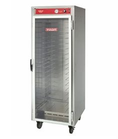 "Vulcan Heated Cabinet Cart, mobile, non-insulated, capacity (18) 18"" x 26"" x 1"" sheet pans or (36) 12"" x 20"" 2-1/2"" steam table pans, fan and air tunnel, fixed tray slides, glass door, s/s construction, 5"" casters; 2 swivel, 2 rigid with locks"