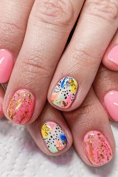 45 Summer and Spring Nails Designs and Art Ideas 45 Summer and Spring Nails Designs and Art Ideas – art deco with gold foil and polka dots nail art Abstract Nail Art, Dot Nail Art, Polka Dot Nails, Polka Dots, Nail Art Designs, Nail Designs Spring, Spring Nail Art, Spring Nails, Cute Nails For Spring