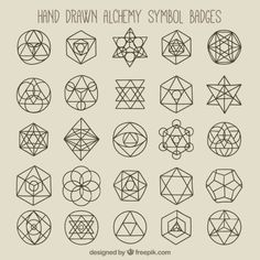 Geometric symbols and badges Free Vector Sacred Geometry Patterns, Geometric Symbols, Geometry Art, Geometric Logo, Geometric Designs, Geometric Shapes, Alchemy Symbols, Magic Symbols, Sacred Symbols