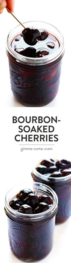 This Bourbon-Soaked Cherries recipe is super-easy to make, naturally-sweetened, . - This Bourbon-Soaked Cherries recipe is super-easy to make, naturally-sweetened, and the perfect add - Bourbon Soaked Cherries Recipe, Yummy Drinks, Yummy Food, Bourbon Recipes, Bourbon Drinks, Party Hard, Gimme Some Oven, Cherry Recipes, Snacks Für Party