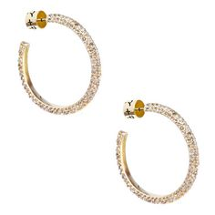 *Gold Pavé Hoop Earrings* Medium sized pavé knife-edge hoops covered in black diamond crystals. Post closure with c+i bullet clutch $42