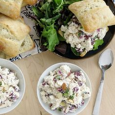 The blue cheese pairs well with the cranberries and almonds, creating a flavorful chicken salad with a bit of crunch!