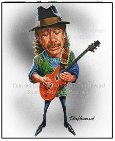 Carlos Santana limitada edición celebridades caricatura arte imprimir por Don…