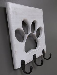 Dog Leash Holder Paw Pet  Wooden Pet Collar  Rack Oil Rubbed Bronze Hooks Distressed White