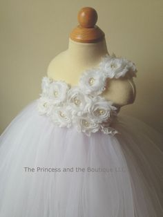 Flower girl dress white tutu dress by Theprincessandthebou