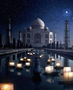 Mystical night at Taj Mahal Agra India. Photo by Barbara Johnson. Taj Mahal India, Places To Travel, Places To Visit, Time Travel, Mughal Architecture, Destinations, Amazing India, Seven Wonders, Destination Voyage