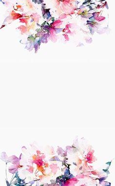 水彩画風かわいい花柄 iPhone壁紙 Wallpaper Backgrounds iPhone6/6S and Plus  Water Colour…