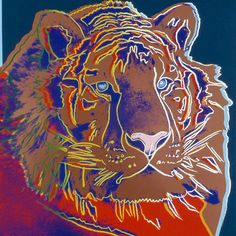 Warhol Siberian Tiger Known to be hunted with a gun, it shows a variety of red under the neck to which I think is where the tiger is targeted at.  I can also see the colours go from warm colours to cool colours.