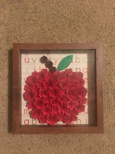 Apple rolled paper flower shadow box