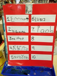 Set up a sign in board with dry erase markers and have the children sign in as they arrive.