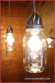 Creative Cain Cabin, Mason Jar Pendant Lights