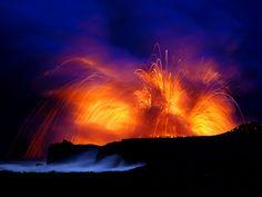 Mt. Kilauea Eruption at Night, Hawaii