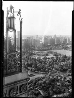 1932.   View towards Central Park West over Central Park from Hotel Moritz Terrace. Samuel H. Gottscho. MCNY