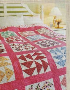 A magazine page may be color photocopied if another pattern appears on the back of one of the pages in the pattern. Easy Quilt Patterns, Quilting Ideas, Flying Geese Quilt, Charm Quilt, Half Square Triangle Quilts, Pinwheel Quilt, Tree Quilt, Vintage Quilts, Pinwheels