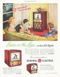 General Electric Television for 1949 Vintage Tv Ads, Television Tv, Phonograph, General Electric, 1940s, Advertising, Poster, Baseball Cards, Electronics
