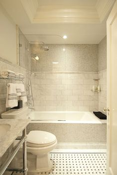 Large Marble Subway Tiles - Design photos, ideas and inspiration. Amazing gallery of interior design and decorating ideas of Large Marble Subway Tiles in bathrooms, kitchens by elite interior designers. Bathroom Tub Shower, Tub Shower Combo, Shower Doors, Master Bathroom, Glass Shower, Shower Tiles, White Bathroom, Simple Bathroom, Shower With Tub