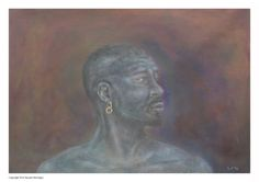 African painting man profile black man male print by Paintzstudio