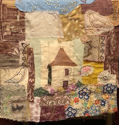 Vintage fabric scraps and hand stitching collage . Hand Embroidery Stitches, Hand Stitching, Fabric Scraps, Textile Art, Collages, Thrifting, Journals, Needlework, Vintage World Maps