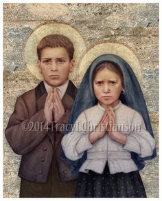 Blessed Francisco and Jacinta Marto Fine Art Print    Choose 8x10 or 11x14 print size.    DESCRIPTION:  This is a copy of my original Prismacolor pencil portrait. Printed on acid free, 80 lb. cardstock, with archival inks, this quality print is ready to frame. The watermark will not appear on your print.    PACKAGING:  8 x 10 images are printed on 8.5 x 11 paper. All prints are carefully rolled and shipped in a rigid mailing tube to ensure safe shipment. We take great care to package your…