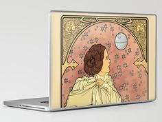 Omg! This is so great! Especially considering that the original image was the model for my scenic painting final and is now stretched on a 6 foot flat in the dining room! Now with Star Wars action!  La Dauphine Aux Alderaan; Princess Leia art nouveau-themed laptop decal