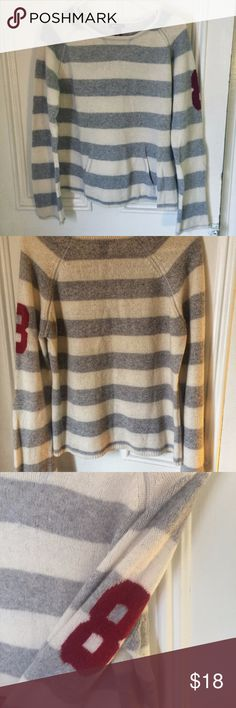 H&M L.O.G.G. white and grey striped sweater Cozy and soft grey and white striped sweater with a front pocket and maroon '8' on the sleeve. Great condition, size large. H&M Sweaters