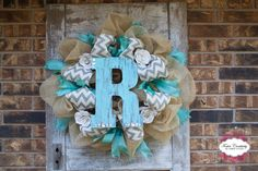 Chevron and Turquoise Burlap Deco Mesh Wreath by FosterCreativity, $75.00