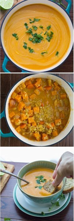 Thai Curry Sweet Potato & Lentil Soup, a healthy, creamy soup that tastes even better the next day!