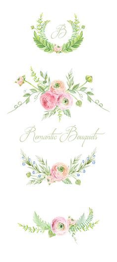 Ranunculus Bouquets Flowers Hand Drawn Clip Art by ReachDreams