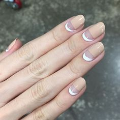 these nude + white negative space nails are everything - nail art - manicure - clean - geometric - spring