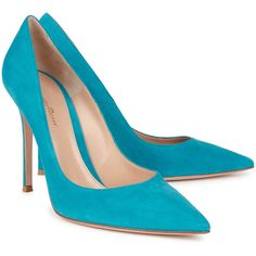 Gianvito Rossi Classic turquoise suede pumps (1,885 PEN) ❤ liked on Polyvore featuring shoes, pumps, pointed toe high heel pumps, high heeled footwear, pointy-toe pumps, slip on pumps and suede pumps