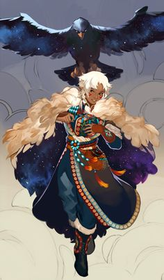 """""""Bigggg commission for of their beautiful character Kismet and his eagle! Fantasy Character Design, Character Creation, Character Design Inspiration, Character Concept, Character Art, Concept Art, Animation Character, Character Sketches, Dnd Characters"""