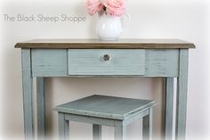 Petite Writing Desk. Base painted in Duck Egg Blue and top in Coco (Annie Sloan Chalk Paint).