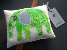 Small Green Elephant Cushion by tessaaviet on Etsy, $17.50