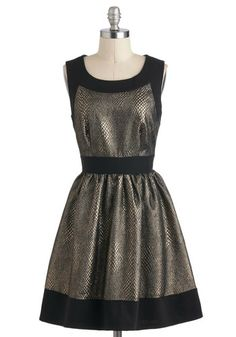 Sheen You Around Dress by Darling - Mid-length, Gold, Black, Animal Print, Exposed zipper, Pockets, Party, A-line, Sleeveless, Trim, Holiday Party