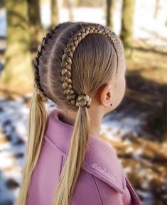 Double Braids - Double Braids I love this double braid with braids covering the elastic! I love this look for a day of school 🏫 photo 📸👧🏻 Lil Girl Hairstyles, Kids Braided Hairstyles, Cool Hairstyles, Toddler Hairstyles, Cool Hair Designs, Girl Hair Dos, Braids For Long Hair, Love Hair, Hair Looks