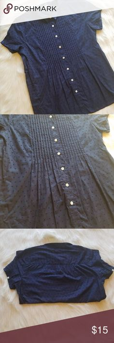 $15 SALE J.Crew Navy Pintuck Button Down 43)ADORABLE button down blouse from J.Crew. Its is rich navy blue. It starts at the top with a small collar, a pintuck bib, and buttons all the way down. The fabric is embroidered with navy polka dots.  Condition: EUC Retail: $78 Size: XS  I do not model, Mannequin photo upon request.  Make an offer or add to a bundle for a private offer! J. Crew Factory Tops Blouses