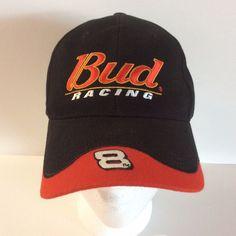 070a3ace6c3 Bud Racing Ball Cap Dale Earnhardt Jr  8 Black Hat Adjustable Slide  Embroidered  Nascar