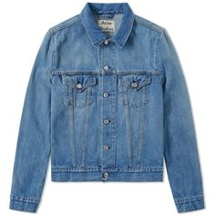 Acne Studios Who Denim Jacket (£239) ❤ liked on Polyvore featuring men's fashion, men's clothing, men's outerwear, men's jackets and mens cotton jacket