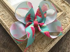 Excited to share this item from my #etsy shop: Watermelon Hair Bow Large Hair Bows 5 Inch Hair Bow Girls Hair Bows Blue Hair Bow Big Hair Bows Big Bow Summer Hair Bow Birthday Hair Bow