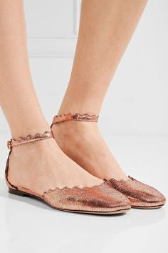 Chloé - Scalloped Metallic Cracked-leather Ballet Flats - IT35.5