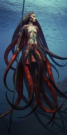 Lord of the Kraken by Steve Argyle - kraken, mermaids - Art of Fantasy Fantasy Artwork, Fantasy Kunst, Mermaids And Mermen, Evil Mermaids, Wow Art, Sea Monsters, Creature Design, Fantasy World, Mythical Creatures