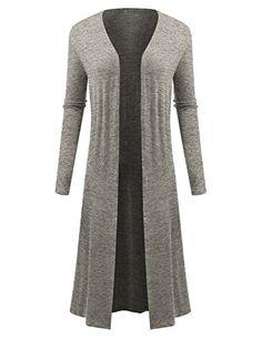 BIADANI Women Classic Long Sleeve Soft Drape Split Hem Maxi Cardigan