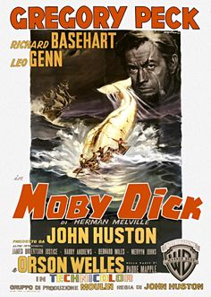 Poster for Moby Dick, starring Gregory Peck, directed by John Huston, 1956